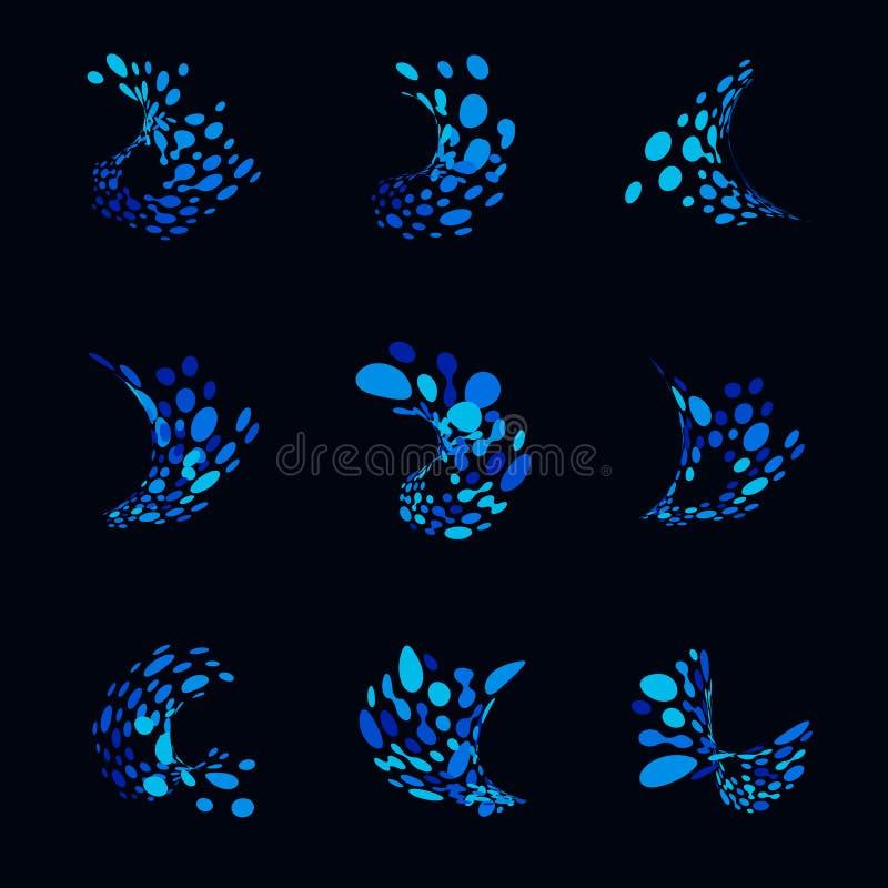 Abstrakcjonistyczni logowie od kropek w postaci ocean fala Set błękitne ikony od zniekształcać kropek Ciekły pluśnięcie wektor royalty ilustracja