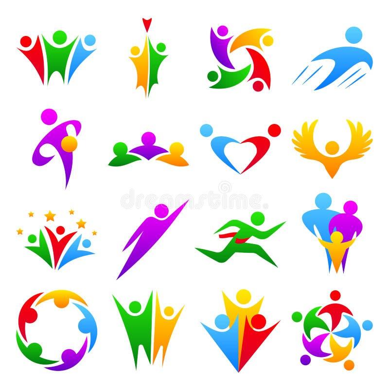 Abstrakcjonistyczni ludzie drużyny ciała grupowej sylwetki kształtują ikona loga pojęcia projekta graficznych charakterów ludzkie ilustracji