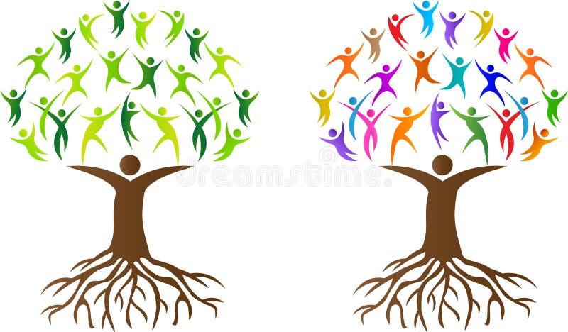 Abstrakcjonistyczni ludzie drzewni z korzeniem royalty ilustracja