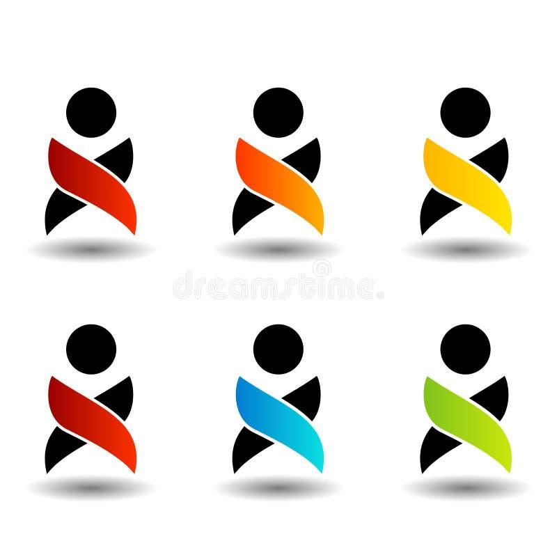 Abstrakcjonistyczni ludzie kolorowych logów