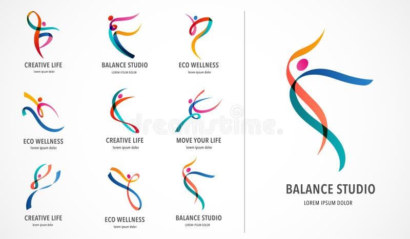 Abstrakcjonistyczni ludzie loga projekta Gym, sprawność fizyczna, działającego trenera wektorowy kolorowy logo Aktywna sprawność  ilustracja wektor