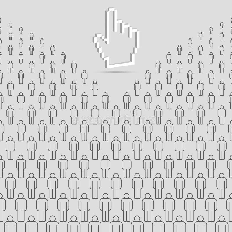 Abstrakcjonistyczni ludzie tła i 3D ręki kursor Popielaci Wektorowi ludzie tłumu Robić Proste Kreskowe ikony royalty ilustracja