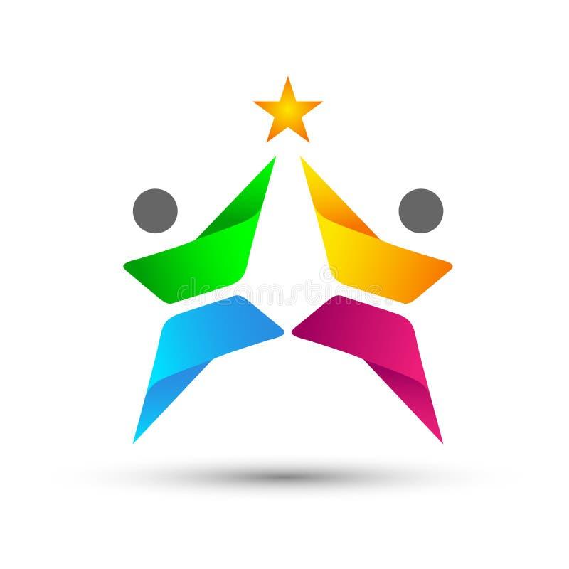 Abstrakcjonistyczni ludzie Zrzeszeniowego świętowanie loga na Korporacyjnym Inwestującym Biznesowym pomyślnym logu Pieniężnej inw ilustracja wektor