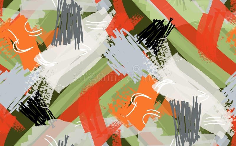 Abstrakcjonistyczni markiera i atramentu uderzenia zielenieją czerwonego biel royalty ilustracja