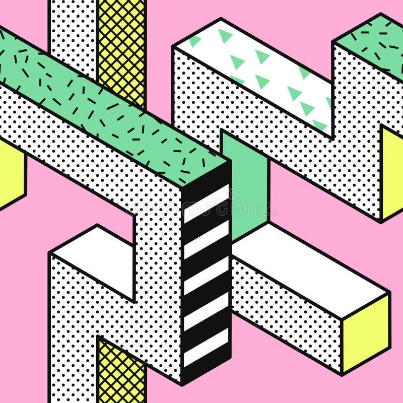 Abstrakcjonistyczni Memphis Bezszwowi wzory z 3d Geometrycznymi kształtami Mody 80s 90s tkaniny projekt Modny modnisia tło royalty ilustracja