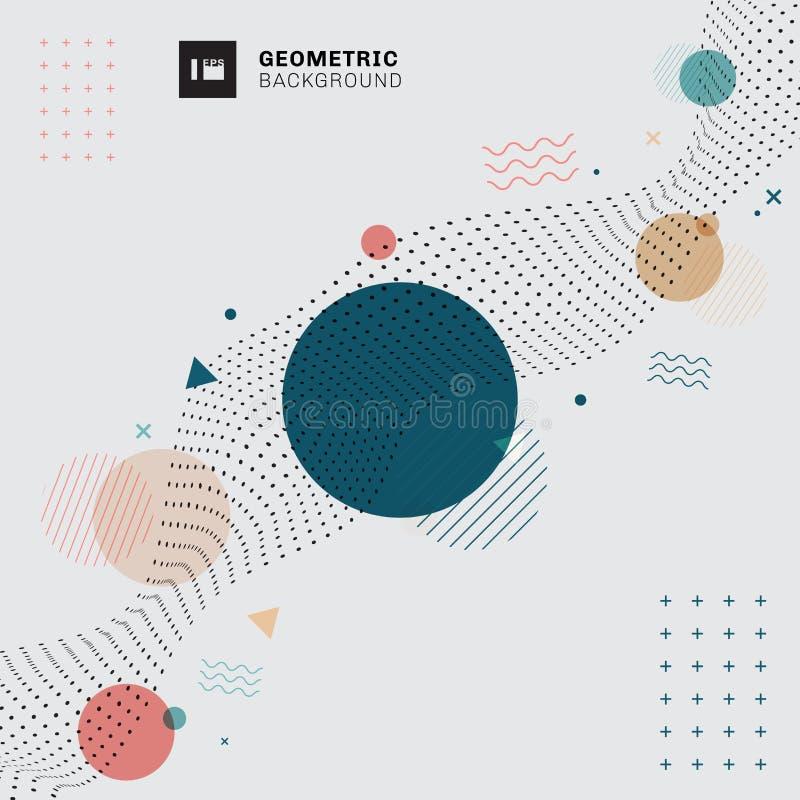 Abstrakcjonistyczni Memphis geometryczni okręgi, trójboki, faliste linie z czarnych kropek falistym wzorem na szarym tle Duża tec ilustracji