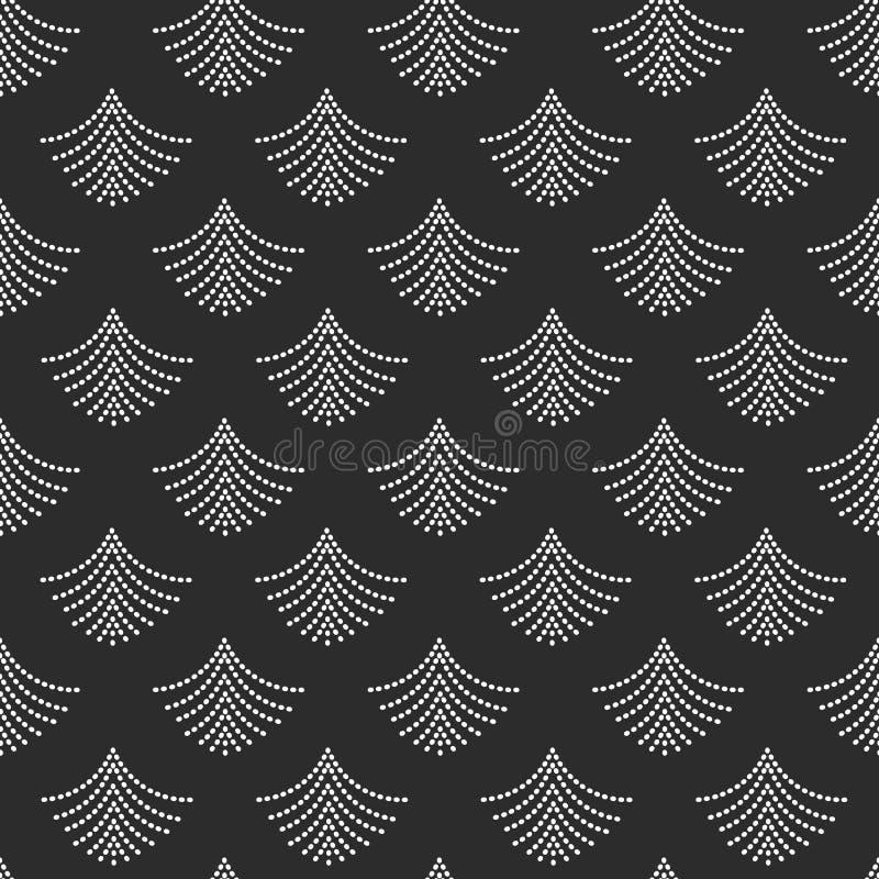 Abstrakcjonistyczni modni biali geometrical kropkowani fan kształtują wzór na czerni ilustracja wektor