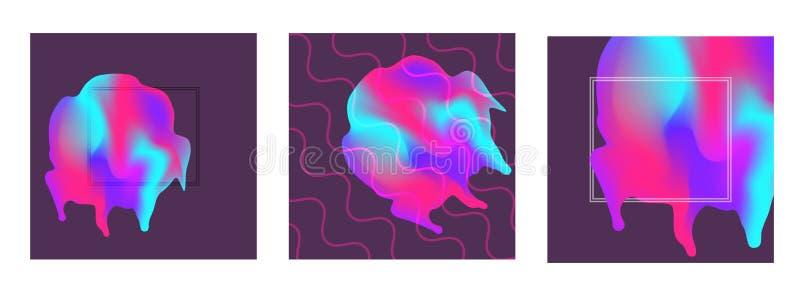 Abstrakcjonistyczni modni tła z plama gradientu elementami ilustracji