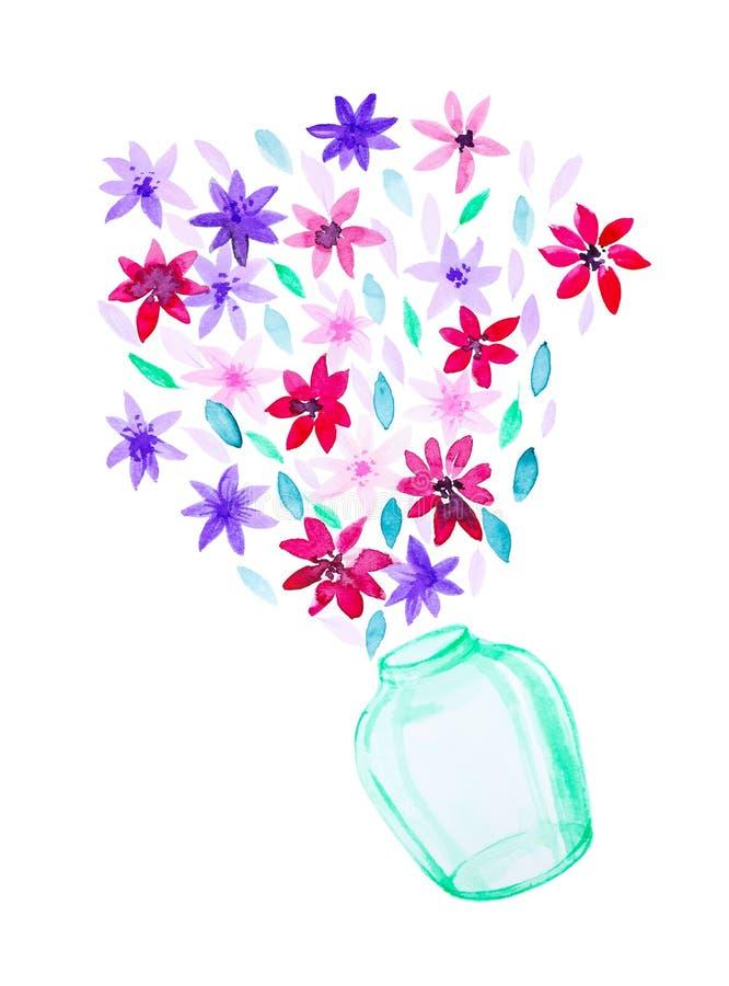 Abstrakcjonistyczni multicolor kwiaty w zielonego szkła wazie Akwareli ilustracja odizolowywająca na białym tle ilustracji