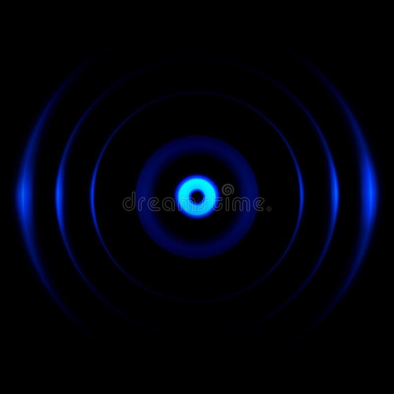 Abstrakcjonistyczni niebieskich oczu odbicia na czarnym tle royalty ilustracja