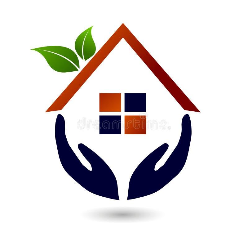 Abstrakcjonistyczni nieruchomość zielonego domu rodzinnego dachu ludzie i domowego logo elementu wektorowa ikona projektują wekto ilustracja wektor