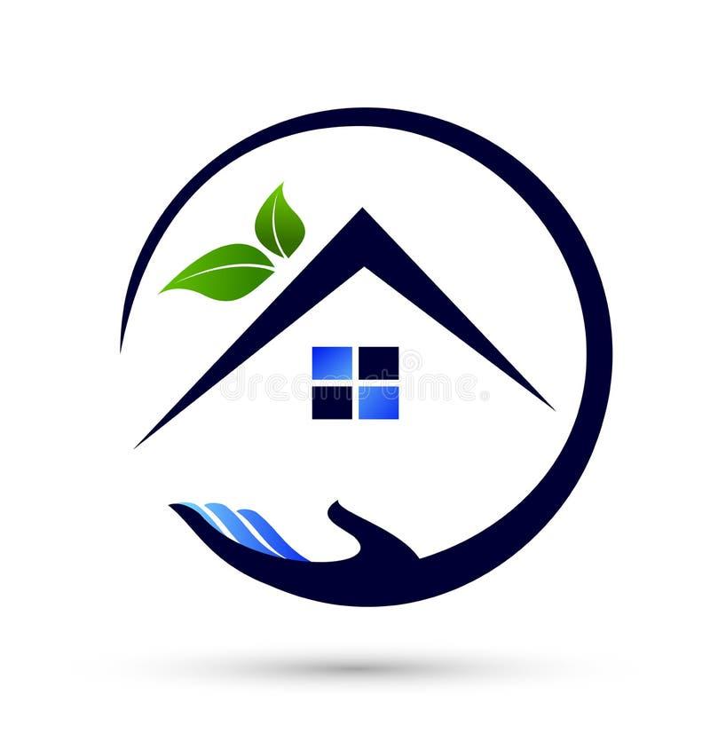 Abstrakcjonistyczni nieruchomo?? zielonego domu rodzinnego dachu ludzie i domowego logo elementu wektorowa ikona projektuj? wekto ilustracja wektor