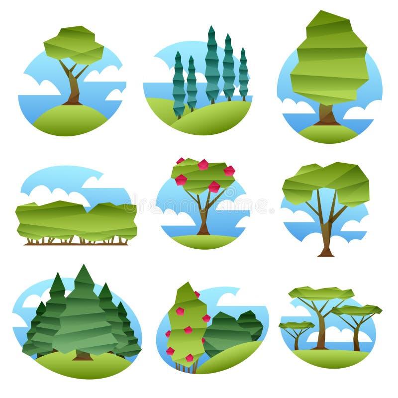 Abstrakcjonistyczni niscy poli- stylów krajobrazy z drzewami ustawiającymi royalty ilustracja