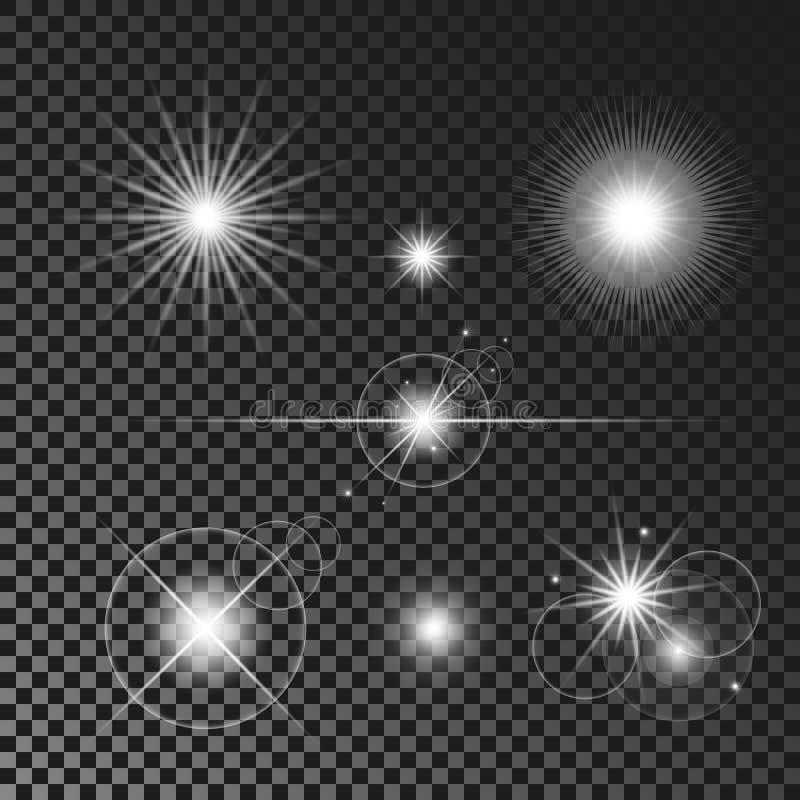 Abstrakcjonistyczni obiektywów racy Ustawiający rozjarzone gwiazdy Wybuchów światła na Przejrzystym tle Błyszczeć granicy Wektoru ilustracja wektor