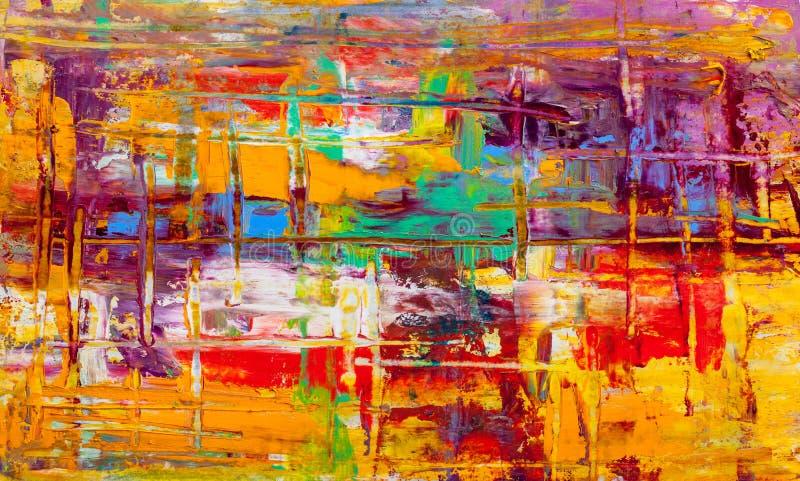 abstrakcjonistyczni obrazy Ręka rysujący obraz olejny Kolor tekstura royalty ilustracja