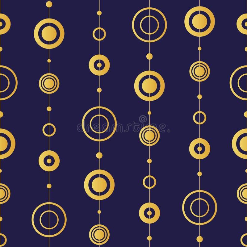 Abstrakcjonistyczni okręgi powtarzają bezszwowego wzór, złocisty gradient na ciemnej purpurze - błękitny tło ilustracja wektor