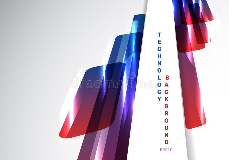 Abstrakcjonistyczni perspektywiczni błękitni i czerwoni błyszczący geometryczni kształty pokrywa się poruszającej technologii fut ilustracja wektor