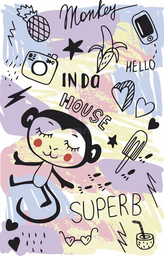 Abstrakcjonistyczni piękni uroczy kreskówek dzieci doodles: małpa, banan, kamera, telefon, oświetlenie, gwiazdy, szkła, serca, an ilustracja wektor