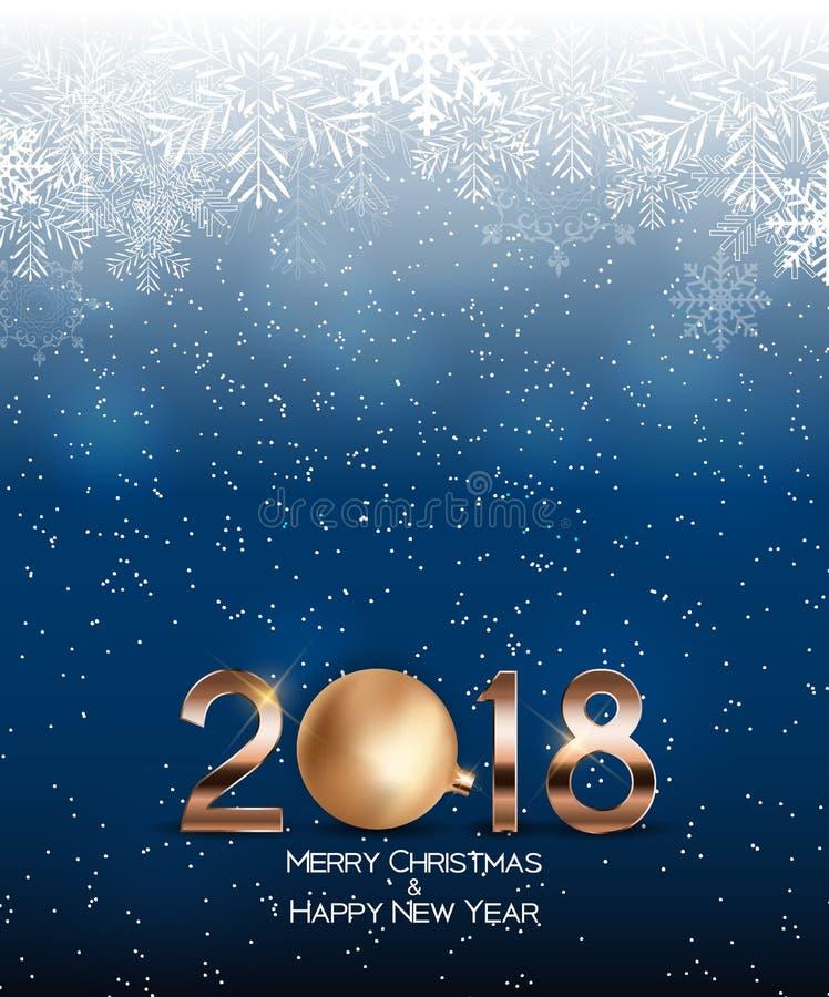 Abstrakcjonistyczni piękno boże narodzenia i 2018 nowy rok tło również zwrócić corel ilustracji wektora ilustracji