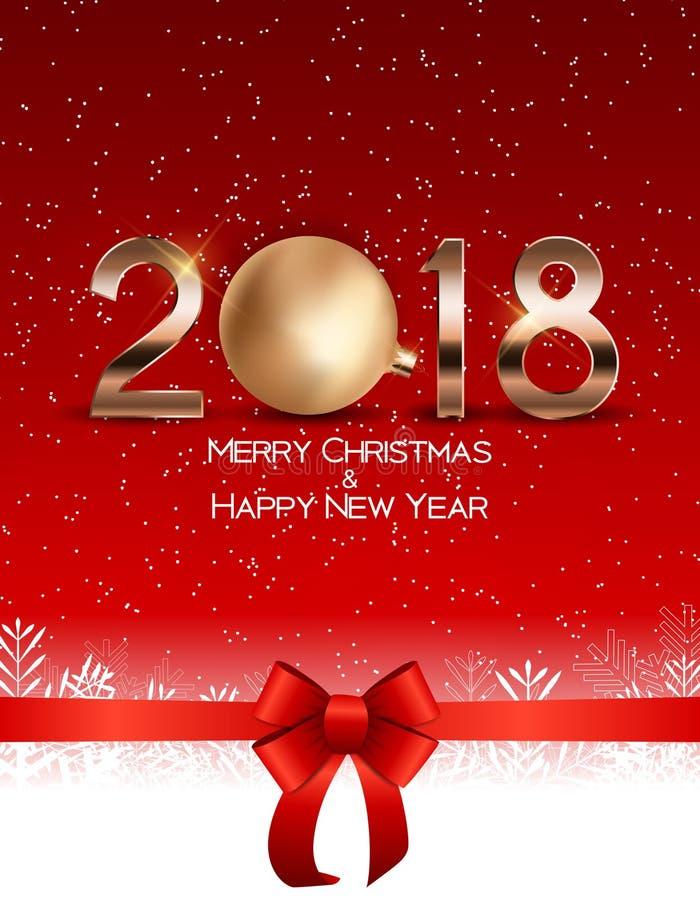 Abstrakcjonistyczni piękno boże narodzenia i 2018 nowy rok tło również zwrócić corel ilustracji wektora royalty ilustracja