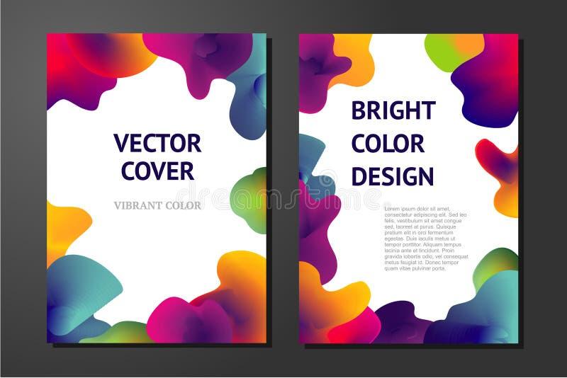 Abstrakcjonistyczni plakaty z ciekłymi farba elementami Minimalni tła ustawiający Gładzi formy z wibrującymi gradientami ilustracji