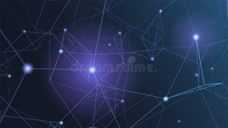 Abstrakcjonistyczni plexus kształty cyfrowego cyber tła, technologicznych i inżynierii wzory, wektorowa ilustracja Pojęcie royalty ilustracja