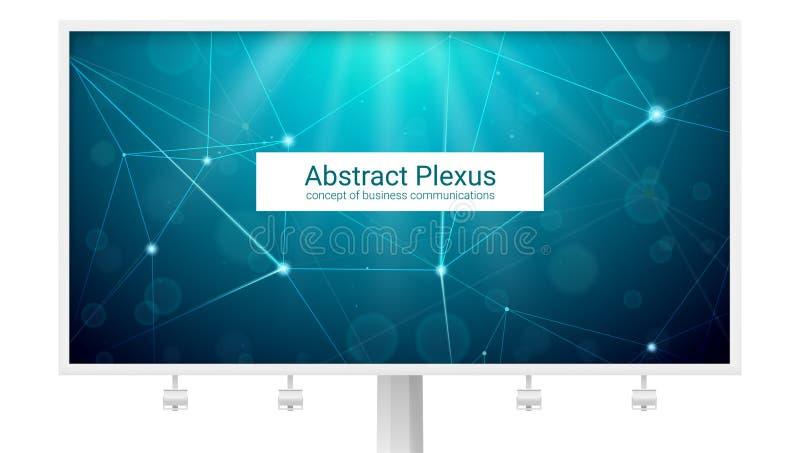 Abstrakcjonistyczni poligonalni plexus kształty Duży billboard z pojęciem komunikacja biznesowa, sieć, wisząca ozdoba łączy Proje royalty ilustracja