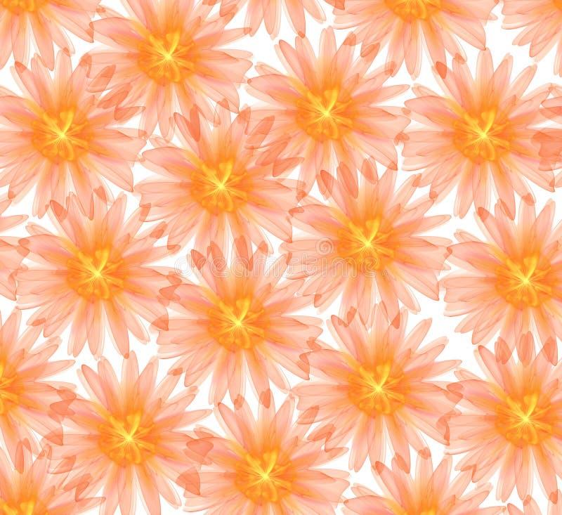 Abstrakcjonistyczni pomarańcze 3d kwiaty odizolowywający na białym tle royalty ilustracja