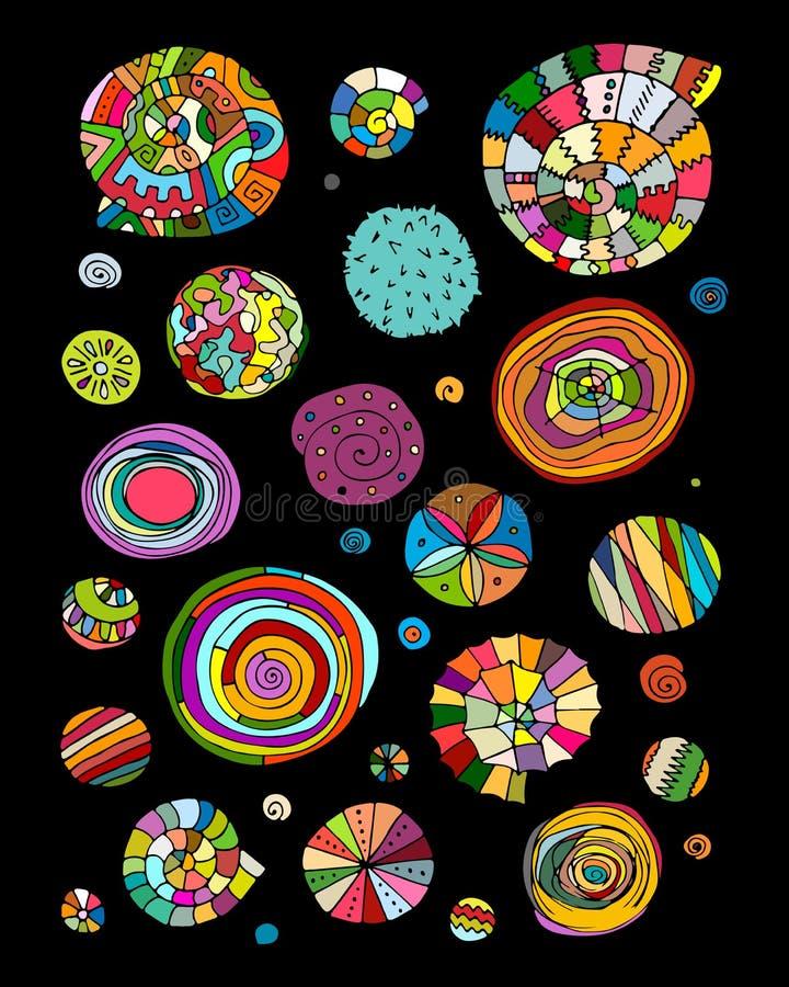 Abstrakcjonistyczni projektów elementy, ruszać się po spirali i okręgi kreślą royalty ilustracja