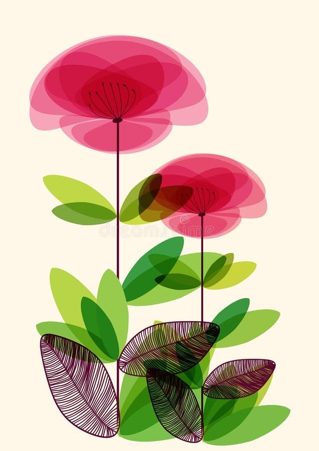Abstrakcjonistyczni przejrzyści kwiaty royalty ilustracja