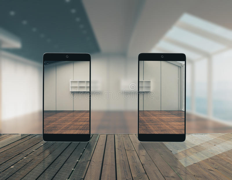 Abstrakcjonistyczni przejrzyści smartphones ilustracji