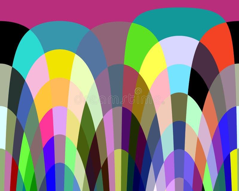 Abstrakcjonistyczni purpur menchii żółtej zieleni kształty, grafika, geometrie, tło i tekstura, ilustracji