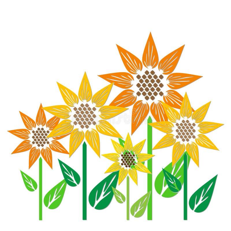 Abstrakcjonistyczni słoneczniki ilustracji