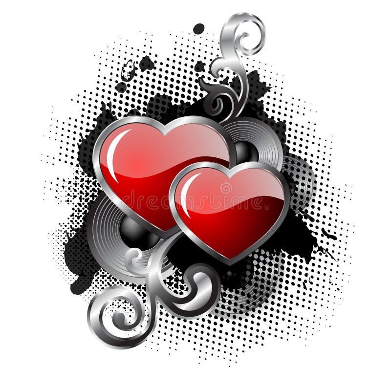 abstrakcjonistyczni serca ilustracja wektor