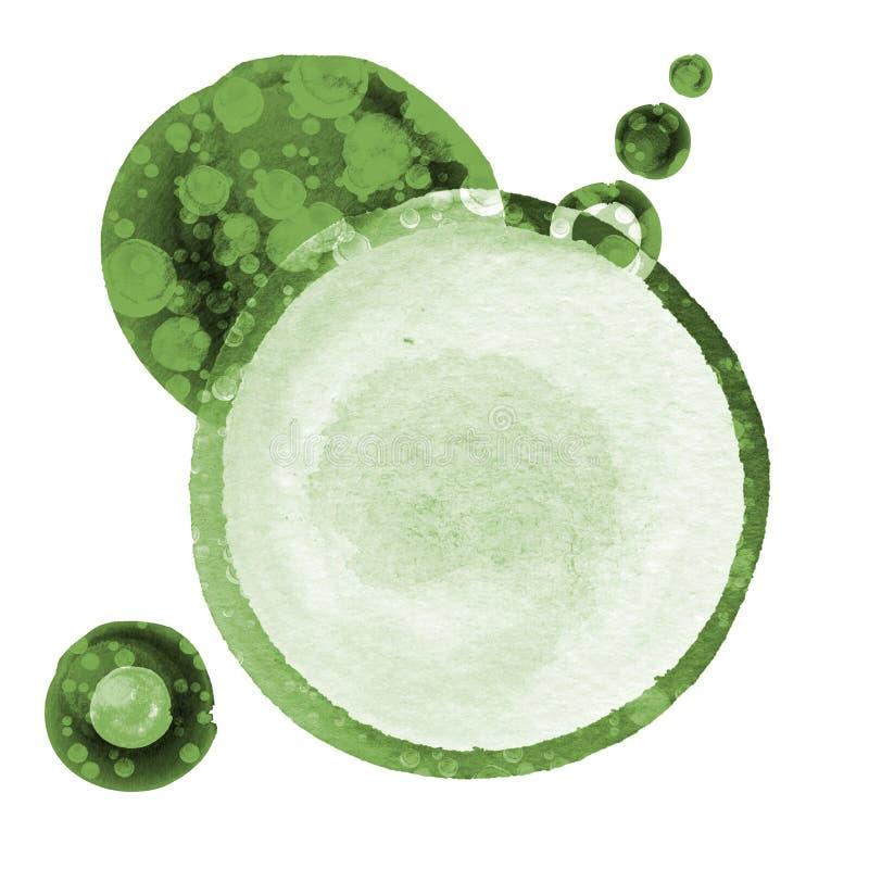 Abstrakcjonistyczni skład akwareli okręgi w cieniach zieleń i biel royalty ilustracja