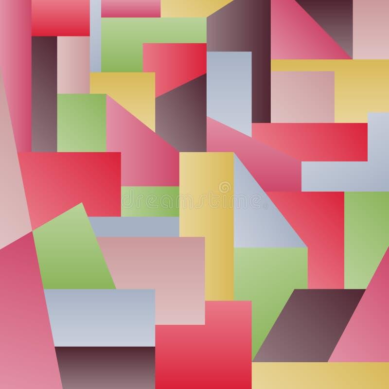Abstrakcjonistyczni stubarwni wieloboki Wieloboki z gradientami ilustracja wektor