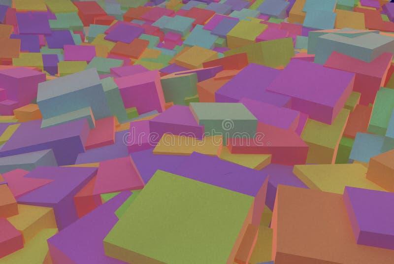Abstrakcjonistyczni sześciany, 3D ilustracja zdjęcia stock