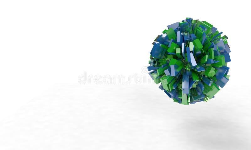 Abstrakcjonistyczni sześciany i sfera, 3d ilustracja wektor