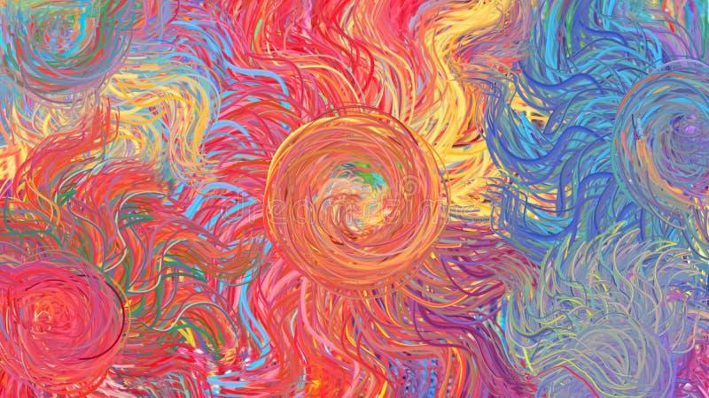 Abstrakcjonistyczni sztuki współczesnej tęczy okręgi wirują kolorowego wzór royalty ilustracja