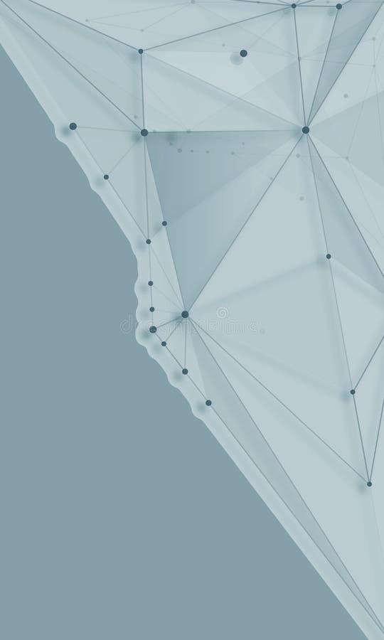 Abstrakcjonistyczni tła molekuły zaświecają - szare linie fotografia stock