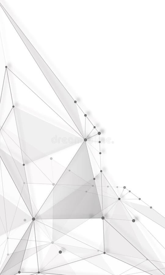 Abstrakcjonistyczni tła molekuły zaświecają - szare linie zdjęcie stock