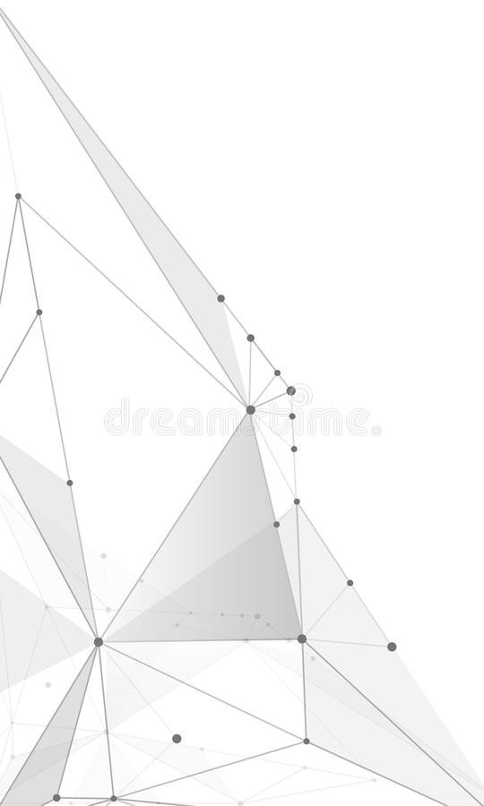 Abstrakcjonistyczni tła molekuły zaświecają - szare linie obraz stock