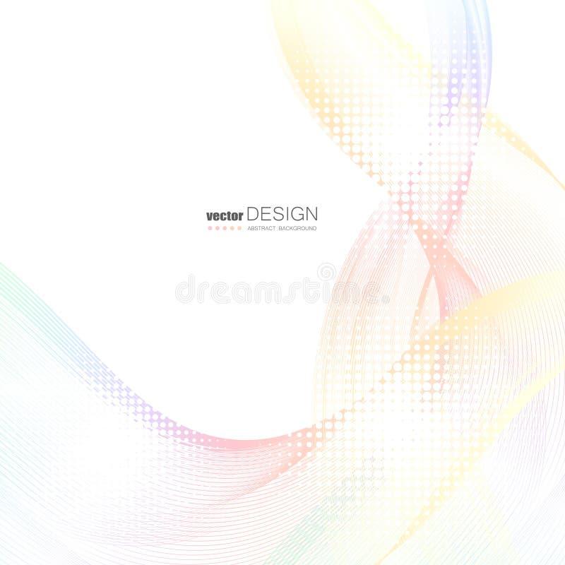 Abstrakcjonistyczni tła z kolorowymi falistymi liniami Elegancki falowy projekt Wektorowa technologia royalty ilustracja