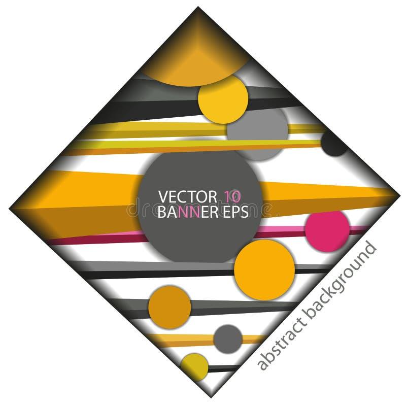 Abstrakcjonistyczni tło okręgi linie w geometrycznych stylowych koloru żółtego, czerwieni i czerni kolorach, ilustracji