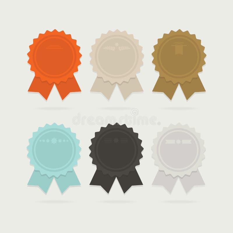 Abstrakcjonistyczni tasiemkowi nagroda łęki ustawiający z cieniami royalty ilustracja
