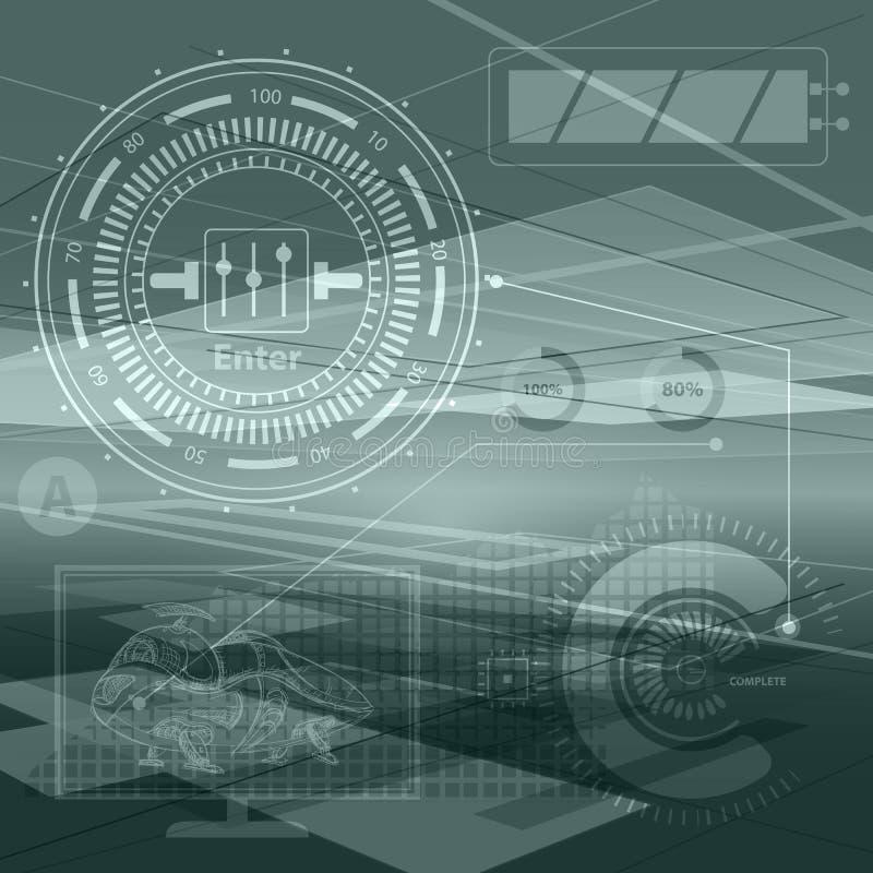 Abstrakcjonistyczni technologia konturu przedmioty Pieniężna biznesowa prezentacja Lekki futurystyczny pojęcie, cyfrowy jasnoziel royalty ilustracja