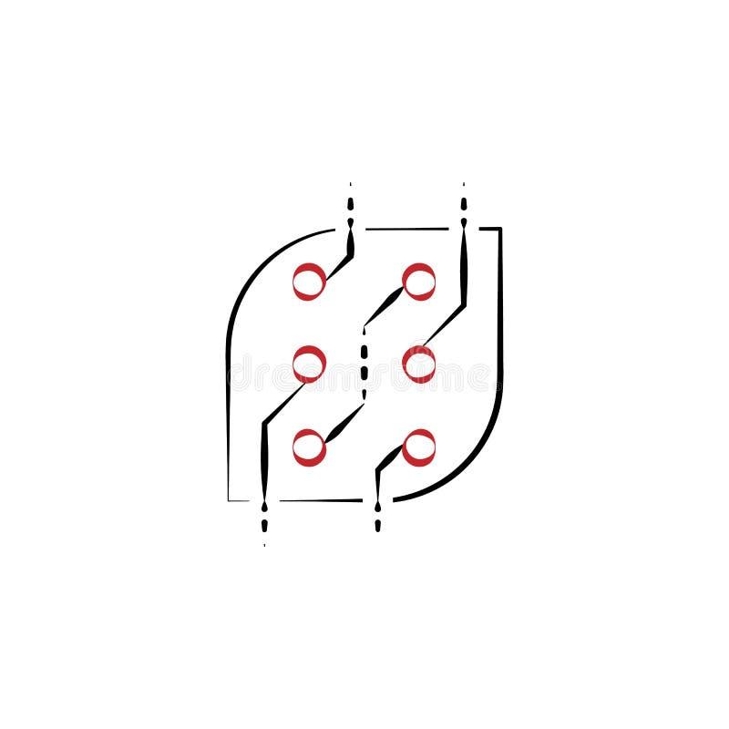 abstrakcjonistyczni 2 technologii barwiąca ręka rysująca ikona Elektronika elementu barwiona ilustracja Konturu symbolu projekt o ilustracja wektor