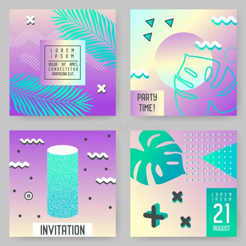 Abstrakcjonistyczni Tropikalni Plakatowi szablony Ustawiający z Palmowymi liśćmi i Geometrycznymi elementami Modniś mody 80s-90s  ilustracja wektor
