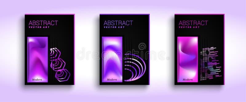 abstrakcjonistyczni ustalić tła Jaskrawy nowożytny abstrakcjonistyczny projekt Barwiona rzadkopłynna graficzna skład ilustracja s ilustracji