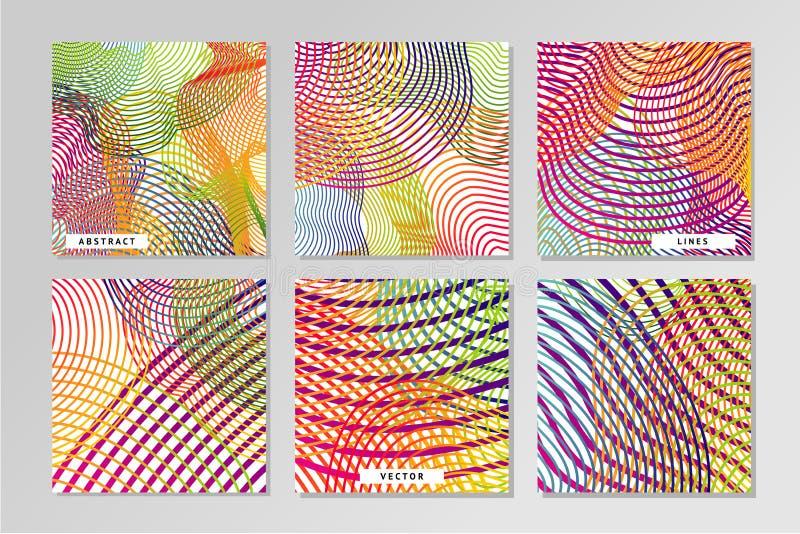 Abstrakcjonistyczni wektorowi backrounds ustawiający z giloszują breja wzór Smouth linie ilustracja wektor